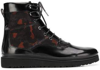 6f31b935969 Emporio Armani camouflage panel combat boots