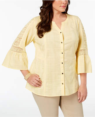 JM Collection Plus Size Cotton Crochet-Sleeve Shirt, Created for Macy's