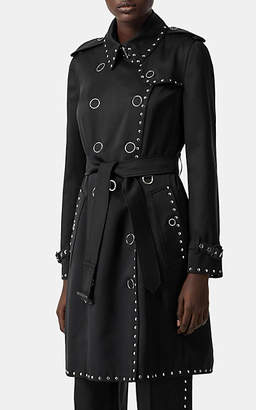 Burberry Women's Studded Silk Satin Trench Coat - Black
