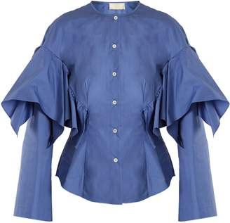 Sara Battaglia Collarless ruffled cotton shirt