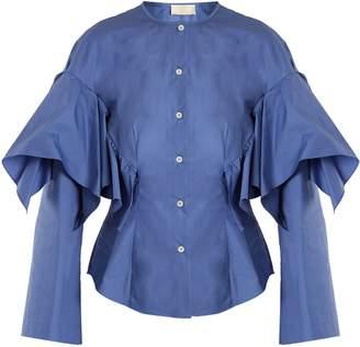 COM Sara Battaglia Collarless ruffled cotton shirt