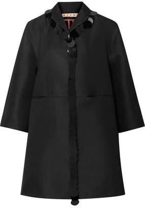 Marni Oversized Pailette-embellished Satin Coat - Black