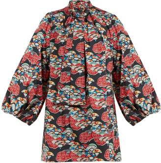 Andrew Gn Japanese fan-print balloon-sleeved cotton dress