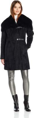 Calvin Klein Women's Shearling Wool Blend Coat with Faux Fur Collar and Buckle Closure