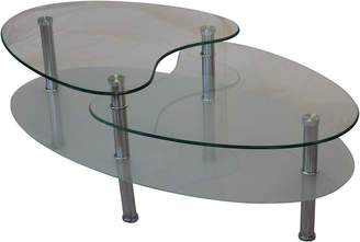 clear By Designs Benny Tiered Coffee Table in Sandblast &