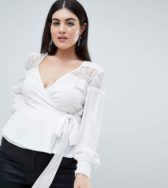 Outrageous Fortune Plus ruffle detail lace insert wrap blouse