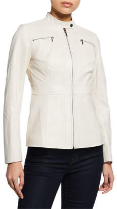 Elie Tahari Sage Zip-Front Leather Moto Jacket
