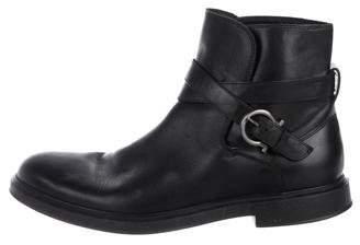 Salvatore Ferragamo Gancio-Accented Leather Ankle Boots