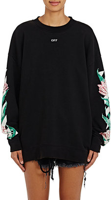Off-White c/o Virgil Abloh Women's Tulip-Graphic Cotton Terry Oversized Sweatshirt $575 thestylecure.com