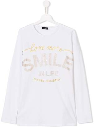 Diesel TEEN glitter stud embellished slogan top