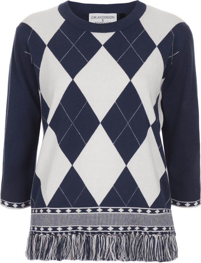 J.W.Anderson **Argyle Knit Top By for Topshop