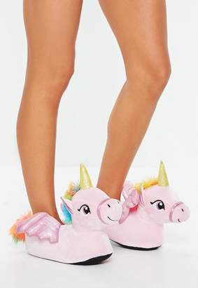 Missguided Pink Unicorn Slippers