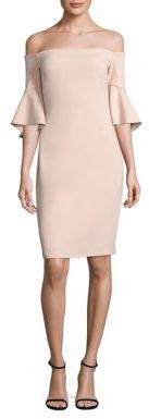 Laundry by Shelli Segal Off-The-Shoulder Bell Sleeve Sheath Dress $295 thestylecure.com