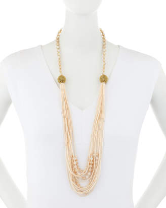 Emily and Ashley Greenbeads By Halfway Beaded Necklace, Taupe