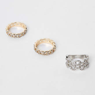 River Island Gold and silver rhinestone curb chain ring pack