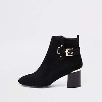 River Island Black suede block heel ankle boots