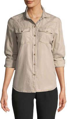 Brunello Cucinelli Button-Down Western-Style Classic Fit Cotton Shirt