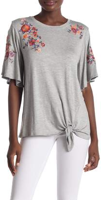 Democracy Bell Sleeve Embroidered Tie Front Tee