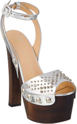 Giuseppe Zanotti Embellished Metallic Leather Platform Sandal