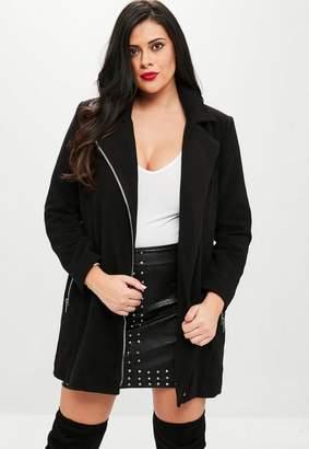 Missguided Curve Black Faux Fur Wool Biker Jacket