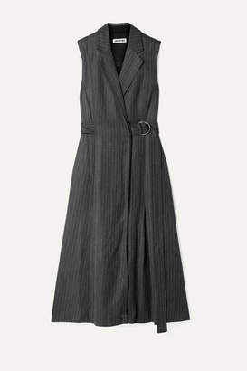 Jason Wu Belted Pinstriped Twill Dress - Gray