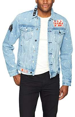 GUESS Men's Rex Denim Jacket with Beaded Sleeve