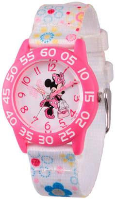 DISNEY MINNIE MOUSE Disney Minnie Mouse Girls White Strap Watch-Wds000164