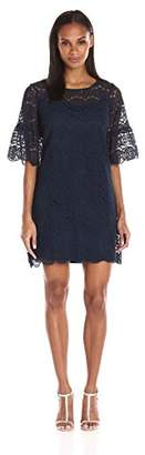 Tiana B Women's Lace Trapeze Dress with a Three Quarter Angel Sleeve