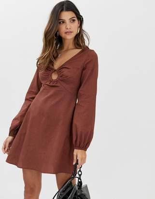 7d1ff83349f Asos Design DESIGN linen mini skater dress with faux tortoiseshell ring