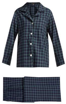Emma Willis - Clark Checked Cotton Pyjama Set - Womens - Blue Print