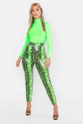 0bfce715f38b0 boohoo Plus Lime Faux Leather Snake Print Slim Pants