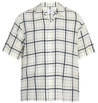 Dunhill Short Sleeved Check Print Silk Shirt - Mens - Blue