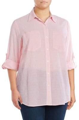 MICHAEL Michael Kors Button-Front Pinstriped Blouse