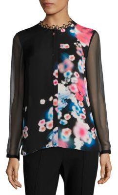 Elie Tahari Raegan Silk Floral-Print Blouse $298 thestylecure.com