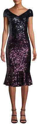 Marina Cap-Sleeve Ombre Sequin Flounce Dress