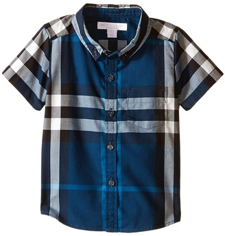 Burberry Kids - Check Shirt with Front Pocket Boy's Short Sleeve Button Up $95 thestylecure.com