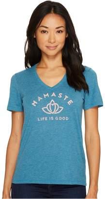 Life is Good Namaste Lotus Heart Cool Vee Women's Long Sleeve Pullover