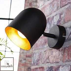 Schwarz-goldener LED-Spot Morik, easydim