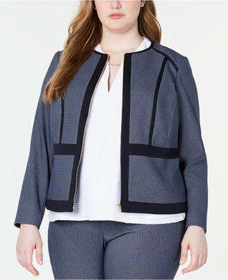 Calvin Klein Plus Size Piped Zip-Up Jacket