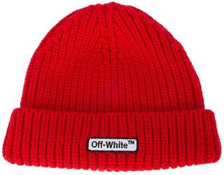 Off-White logo patch beanie