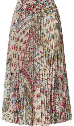 RED Valentino Pleated Floral-print Crepe Midi Skirt - Cream