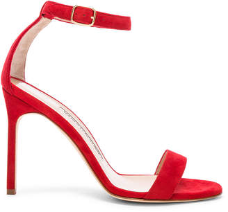Manolo Blahnik Suede Chaos 105 Sandals in Red Suede | FWRD