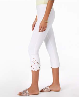 INC International Concepts I.n.c. Cropped Lace-Contrast Capri Pants