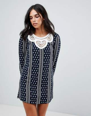 ENGLISH FACTORY The Long Sleeve Dress With Crochet Trim