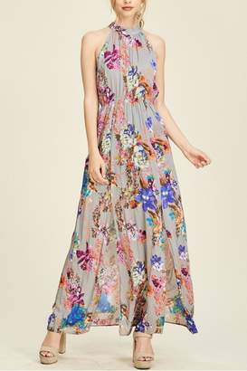 Staccato Floral Slit Maxi