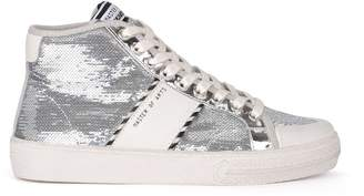 M.O.A. Master Of Arts Moa White Leather And Silver Sequins High Top Sneaker