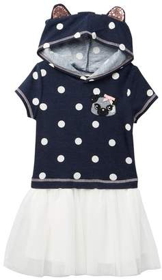 Zunie Short Sleeves French Terry Dot Mesh Drop Hooded Dress (Toddler & Little Girls)