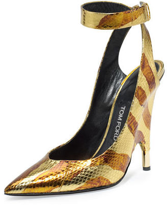 TOM FORD Watersnake Ankle-Wrap Pump $2,240 thestylecure.com