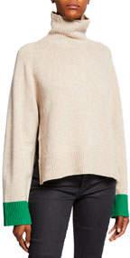 Turtleneck Oversized Wool Contrast-Cuff Sweater