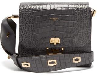 Givenchy Eden Medium Crocodile Effect Leather Messenger Bag - Womens - Grey